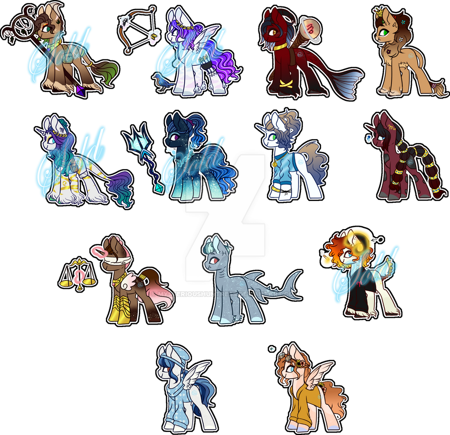 Zodiac adopts (open) (7/12) (Price Lowered) by MysteriousHuntress on DeviantArt